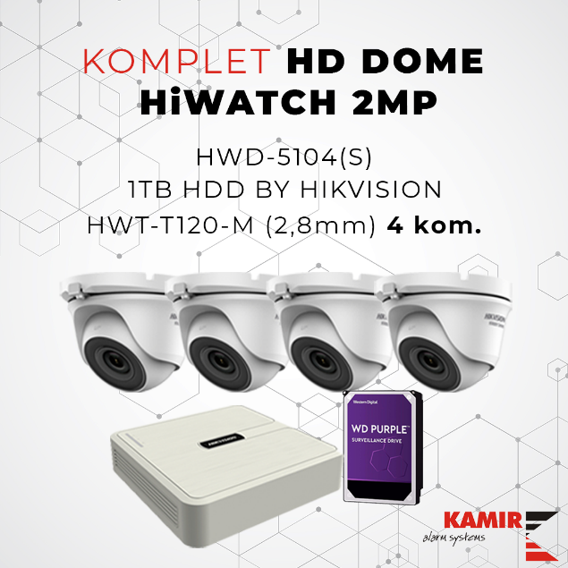 Picture of KOMPLET HD DOME HiWATCH 2MP