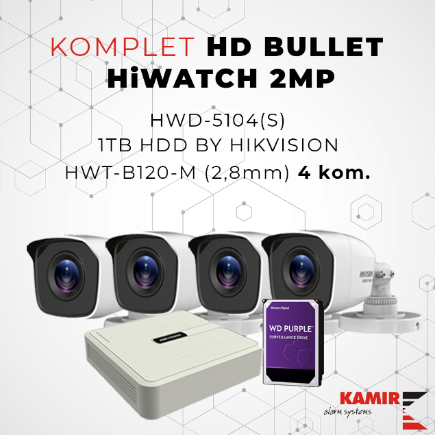 Picture of KOMPLET HD BULLET HiWATCH 2MP
